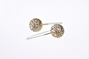Sterling Silver and Gold Plated Bowl Earrings