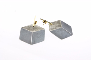 3D Sterling Silver Dangling Earrings - Lg