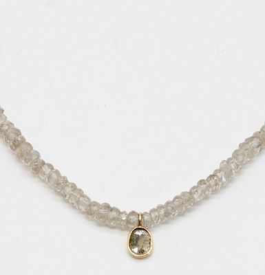 Zircon & Rose Cut Champagne Diamond Necklace
