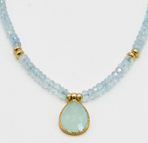 Aquamarine & Chalcedony Necklace