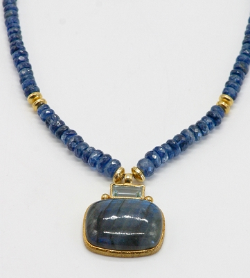 Labradorite, Kyanite, & Blue Topaz Necklace