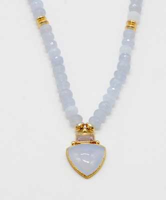 Lavender Chalcedony & Rose Amethyst Necklace