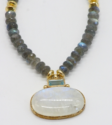 Labradorite, Moonstone &Blue Topaz Necklace