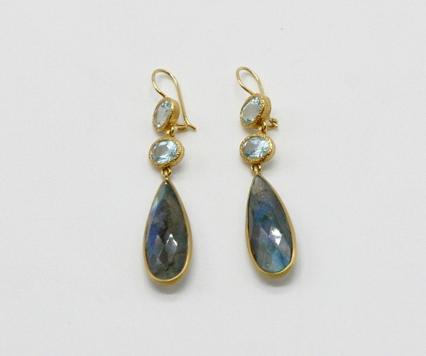 Labradorite & Blue Topaz Earrings