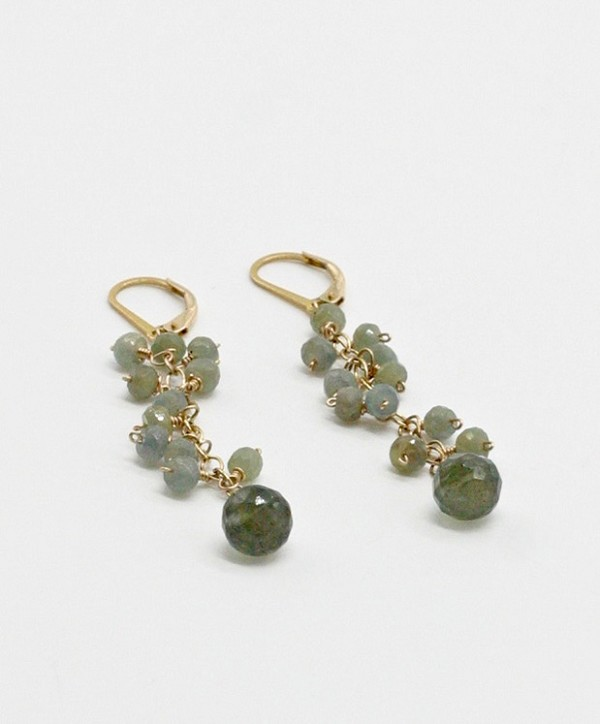 Chandelier Moss Aquamarine and Sapphire Earrings